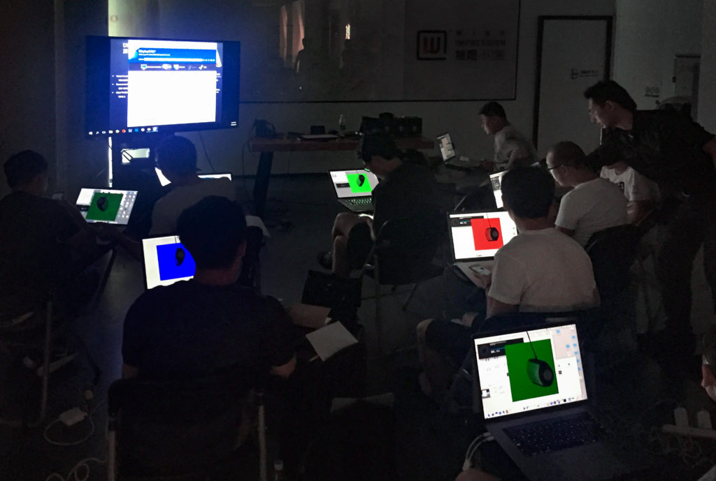 Participants calibrating their monitors